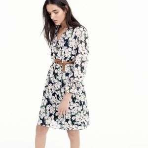 J Crew drapey tie-front dress French floral Med